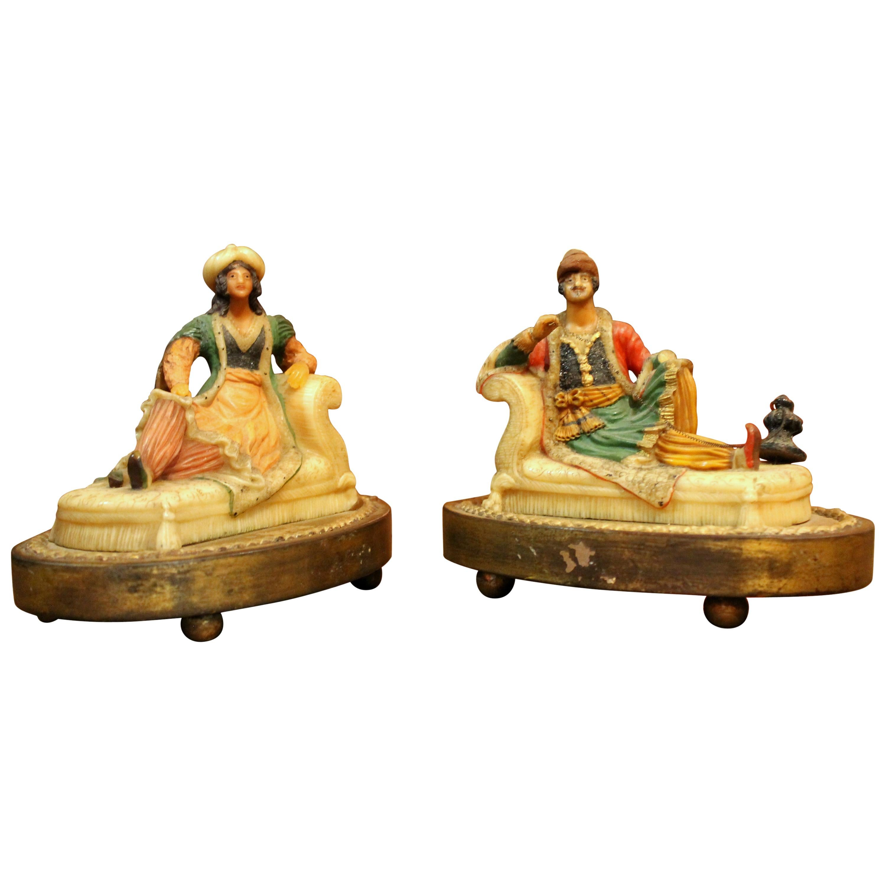 19th Century French Orientalist Polychrome Wax Sculptures on Giltwood Base