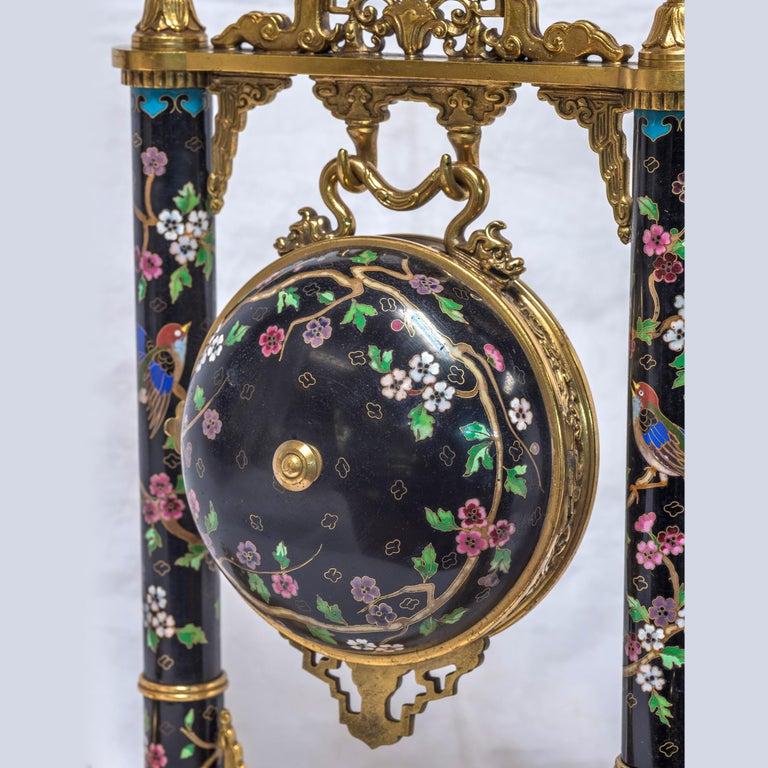 19th Century French Ormolu and Cloisonné Enamel Japonisme Clock Set For Sale 6