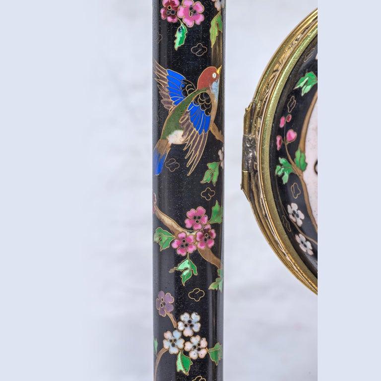 19th Century French Ormolu and Cloisonné Enamel Japonisme Clock Set For Sale 7