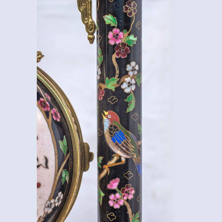 19th Century French Ormolu and Cloisonné Enamel Japonisme Clock Set For Sale 8