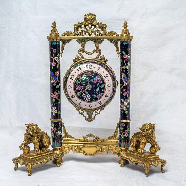 Cloissoné 19th Century French Ormolu and Cloisonné Enamel Japonisme Clock Set For Sale