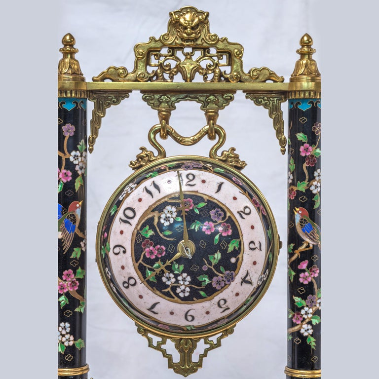 19th Century French Ormolu and Cloisonné Enamel Japonisme Clock Set In Excellent Condition For Sale In New York, NY