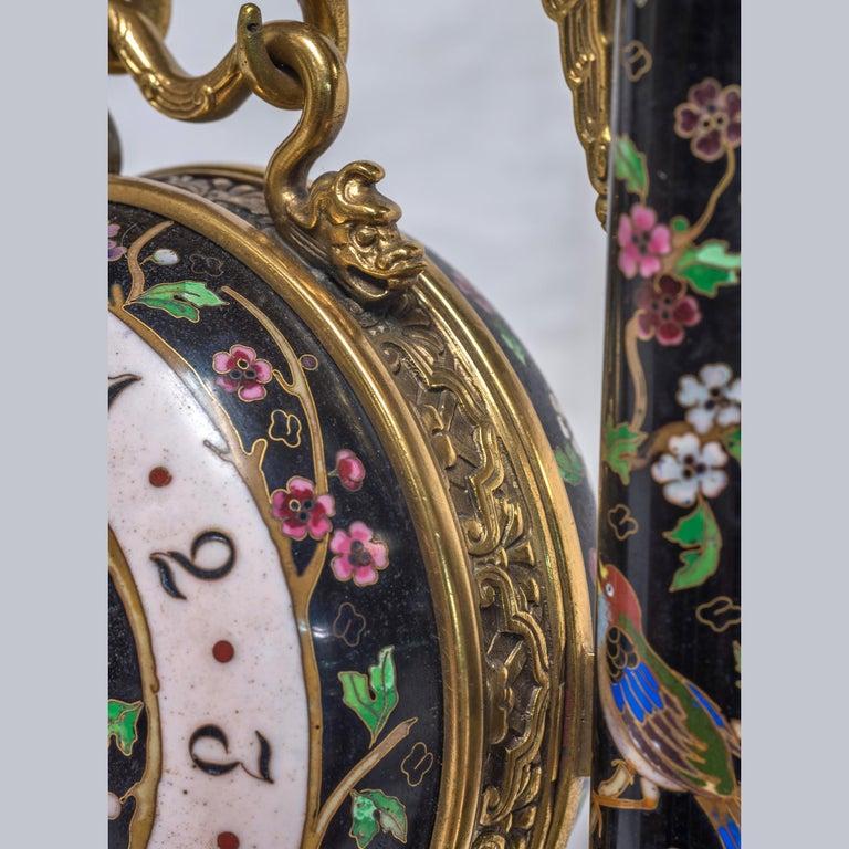 Bronze 19th Century French Ormolu and Cloisonné Enamel Japonisme Clock Set For Sale
