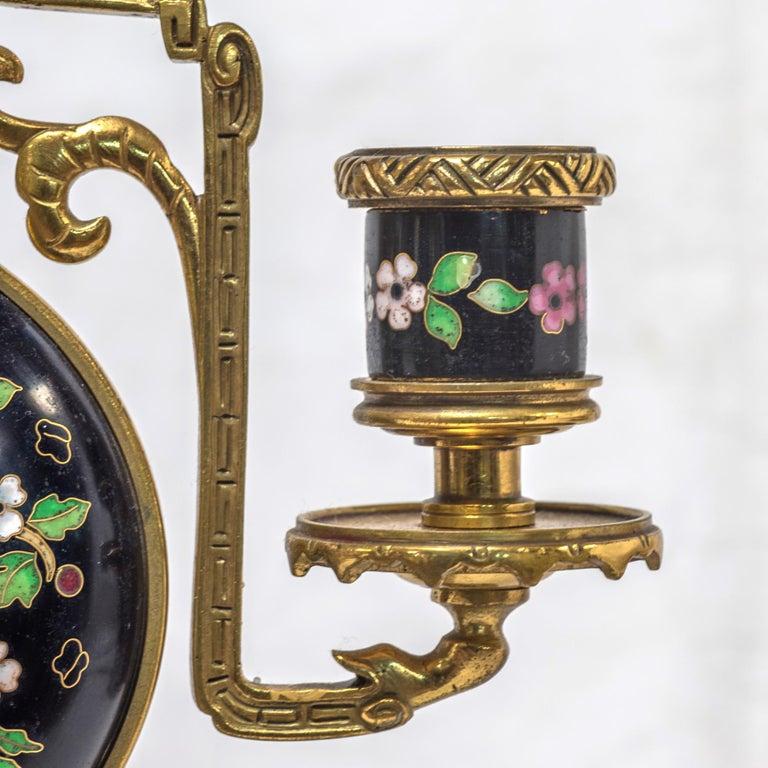 19th Century French Ormolu and Cloisonné Enamel Japonisme Clock Set For Sale 1