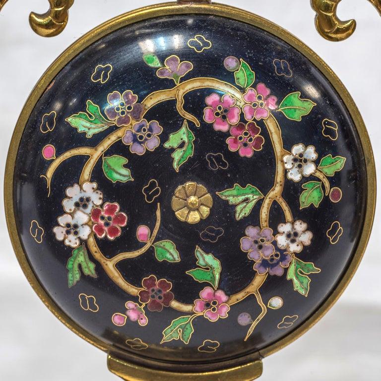 19th Century French Ormolu and Cloisonné Enamel Japonisme Clock Set For Sale 2
