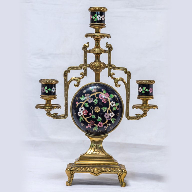 19th Century French Ormolu and Cloisonné Enamel Japonisme Clock Set For Sale 3