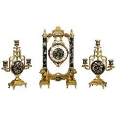 19th Century French Ormolu and Cloisonné Enamel Japonisme Clock Set