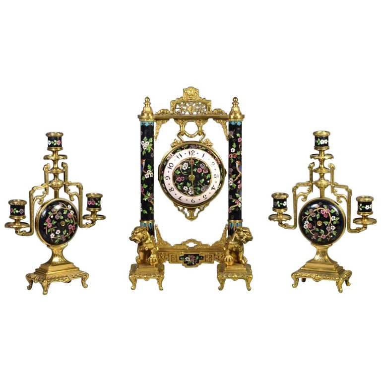 19th Century French Ormolu and Cloisonné Enamel Japonisme Clock Set For Sale