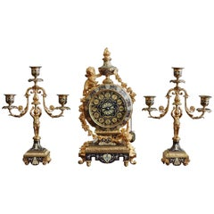 19th Century French Ormolu and Cloisonné Enamel Three-Piece Clock Garniture