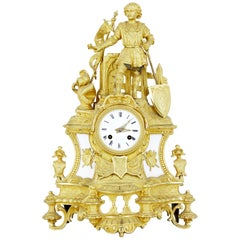 19th Century French Ormolu and Marble Figural Mantel Clock