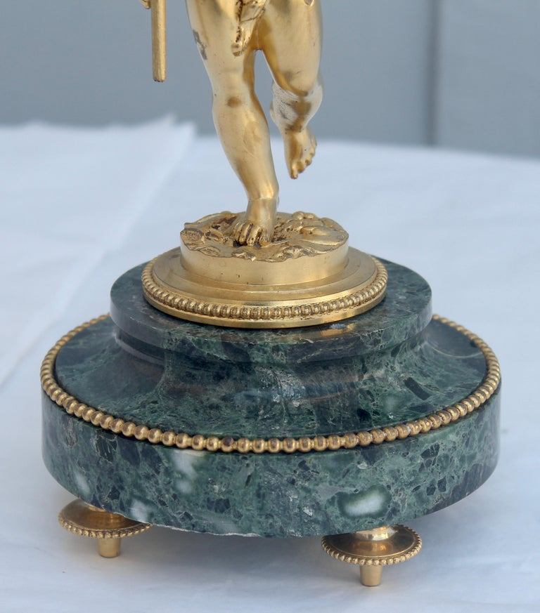 19th Century French Ormolu and Marble Three-Piece Lyre Shaped Clock Garniture For Sale 6