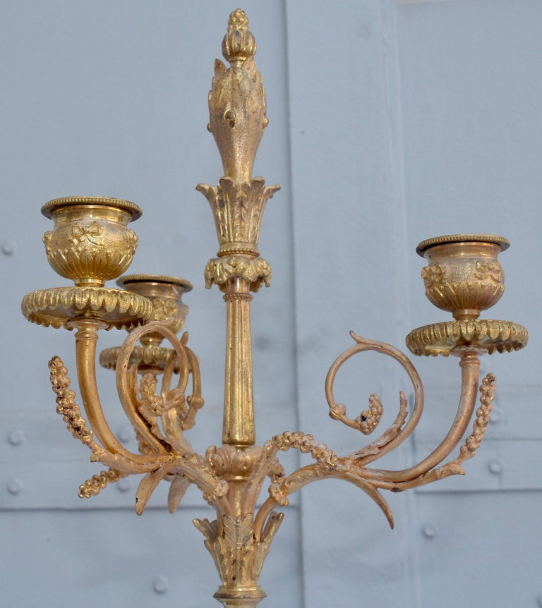 19th Century French Ormolu and Marble Three-Piece Lyre Shaped Clock Garniture For Sale 7
