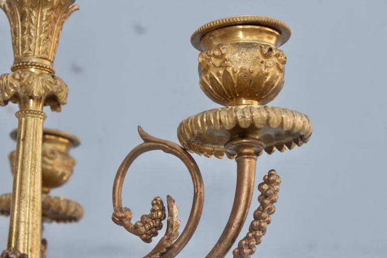 19th Century French Ormolu and Marble Three-Piece Lyre Shaped Clock Garniture For Sale 9