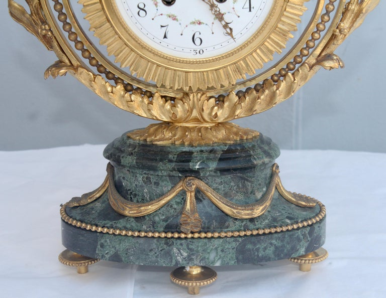 19th Century French Ormolu and Marble Three-Piece Lyre Shaped Clock Garniture In Good Condition For Sale In Saint-Ouen, FR