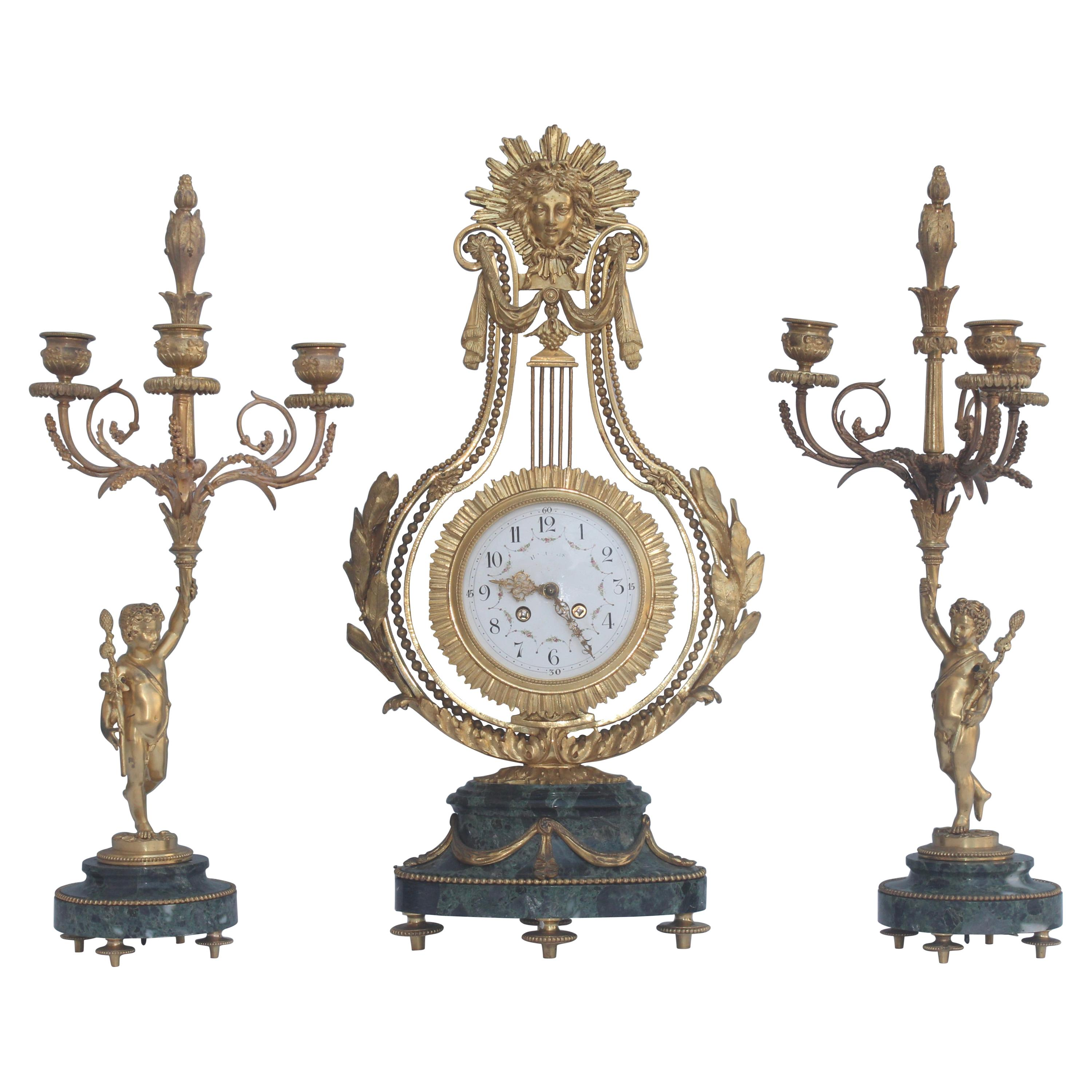 19th Century French Ormolu and Marble Three-Piece Lyre Shaped Clock Garniture