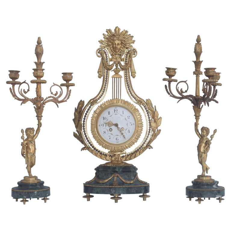 19th Century French Ormolu and Marble Three-Piece Lyre Shaped Clock Garniture For Sale