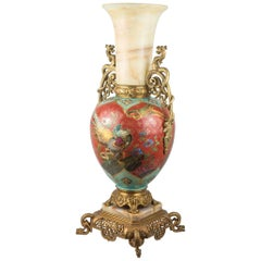 19th Century French Ormolu and Onyx Mounted Porcelain Vase