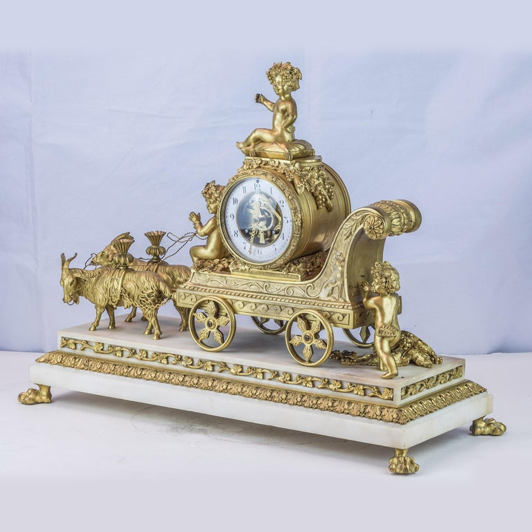 Gilt 19th Century French Ormolu and White Marble Mantel Clock For Sale