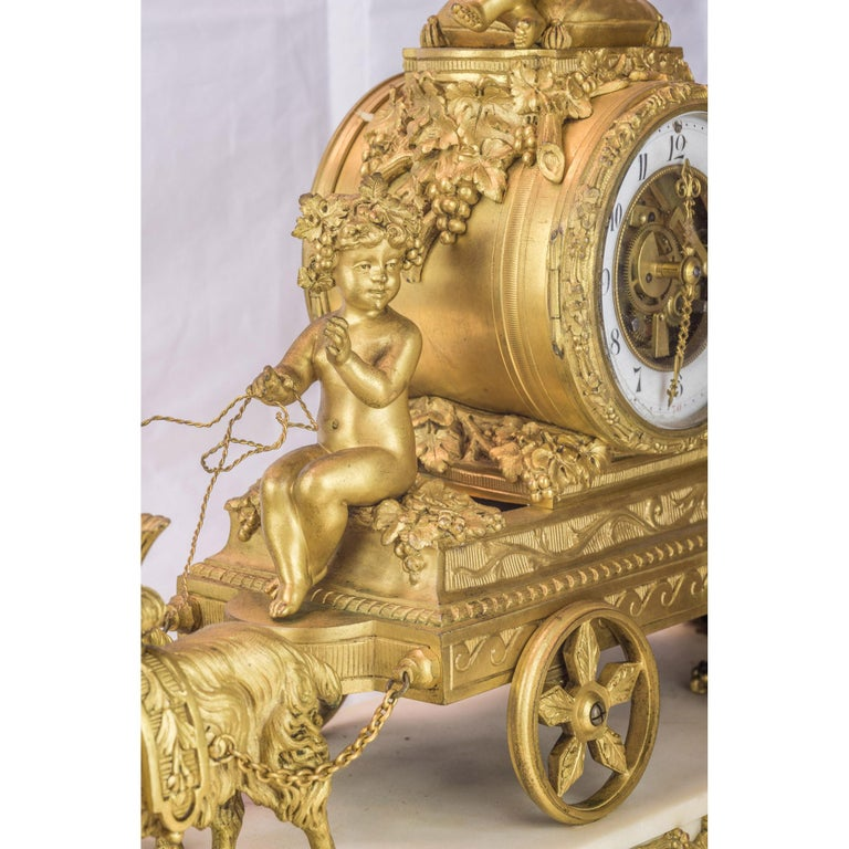 19th Century French Ormolu and White Marble Mantel Clock For Sale 1