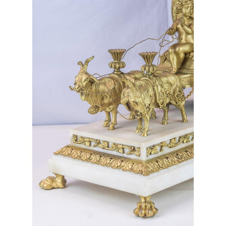 19th Century French Ormolu and White Marble Mantel Clock For Sale 2