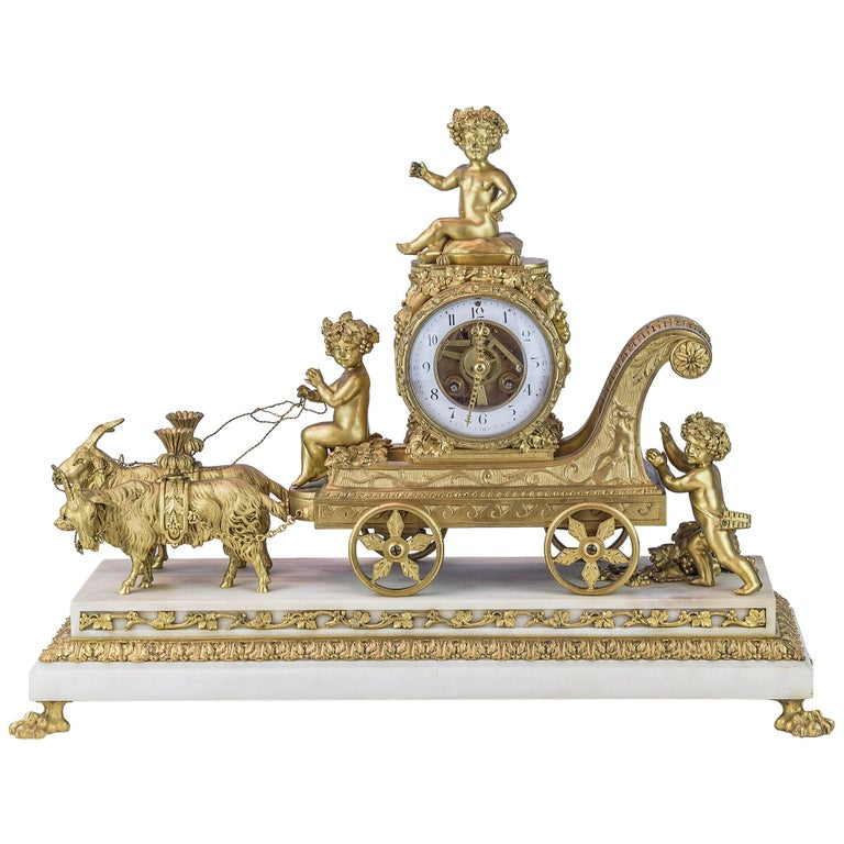 19th Century French Ormolu and White Marble Mantel Clock For Sale