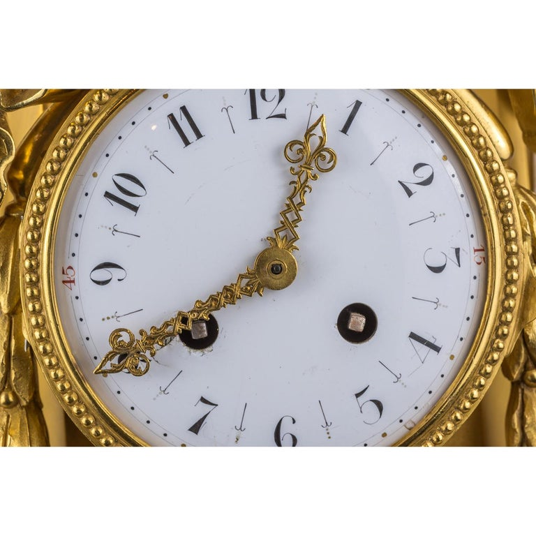 19th Century French Ormolu and White Marble Winged Cherub Clock In Good Condition For Sale In New York, NY