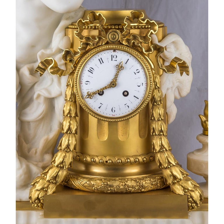 Carrara Marble 19th Century French Ormolu and White Marble Winged Cherub Clock For Sale