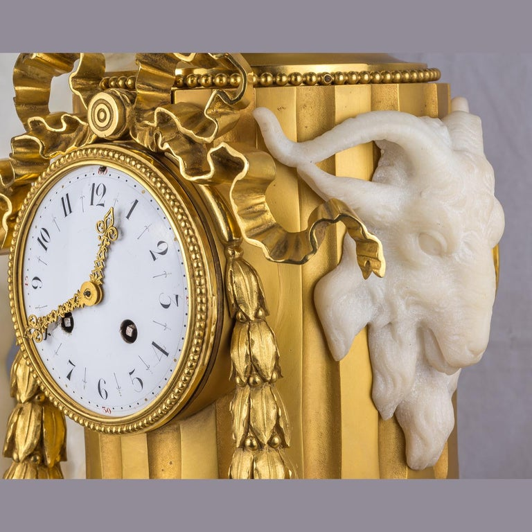 19th Century French Ormolu and White Marble Winged Cherub Clock For Sale 1