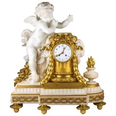 19th Century French Ormolu and White Marble Winged Cherub Clock