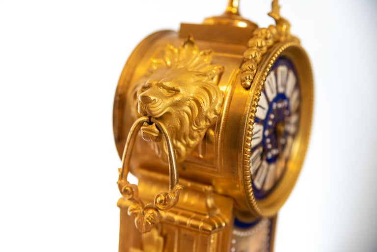 Late Victorian 19th Century French Ormolu Clock For Sale