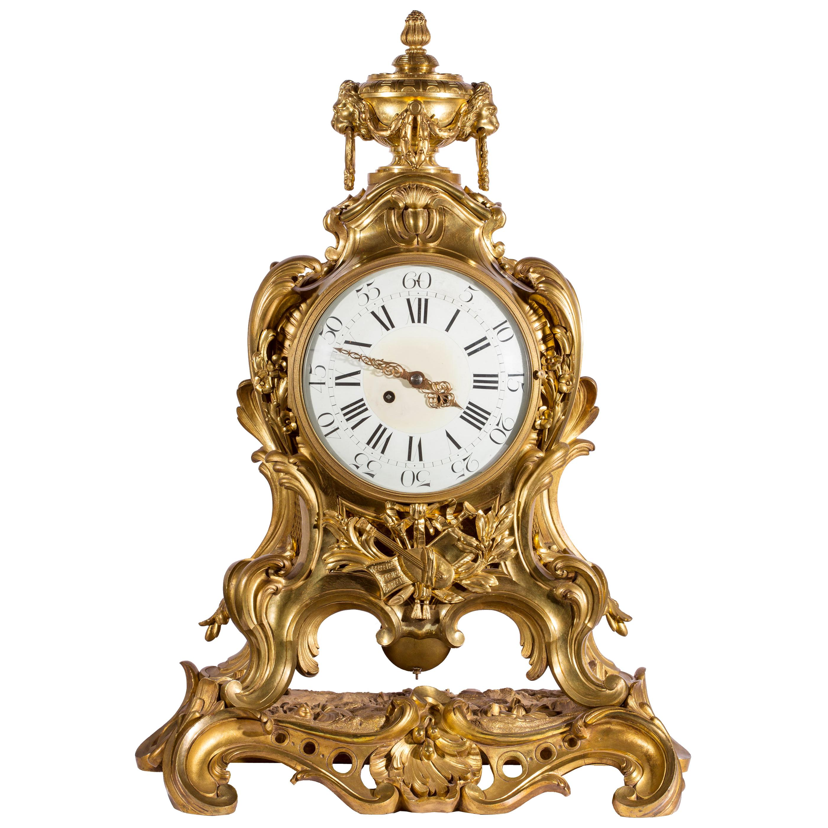 19th Century French Ormolu Mantel Clock with Musical Motif & S. Marti Movement