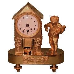 19th Century French Ormolu Mantel Hen House Clock