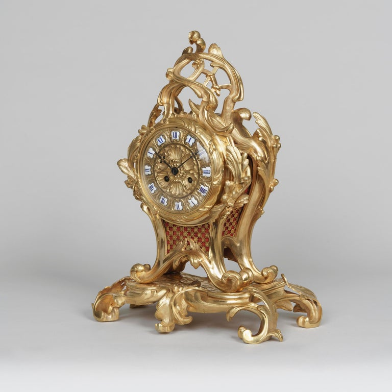Gilt 19th Century French Ormolu Mantle Clock in the Louis XV Style For Sale