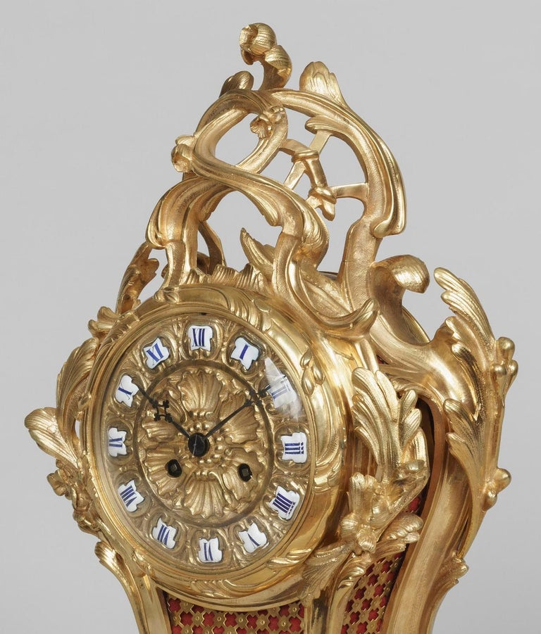19th Century French Ormolu Mantle Clock in the Louis XV Style In Good Condition For Sale In London, GB