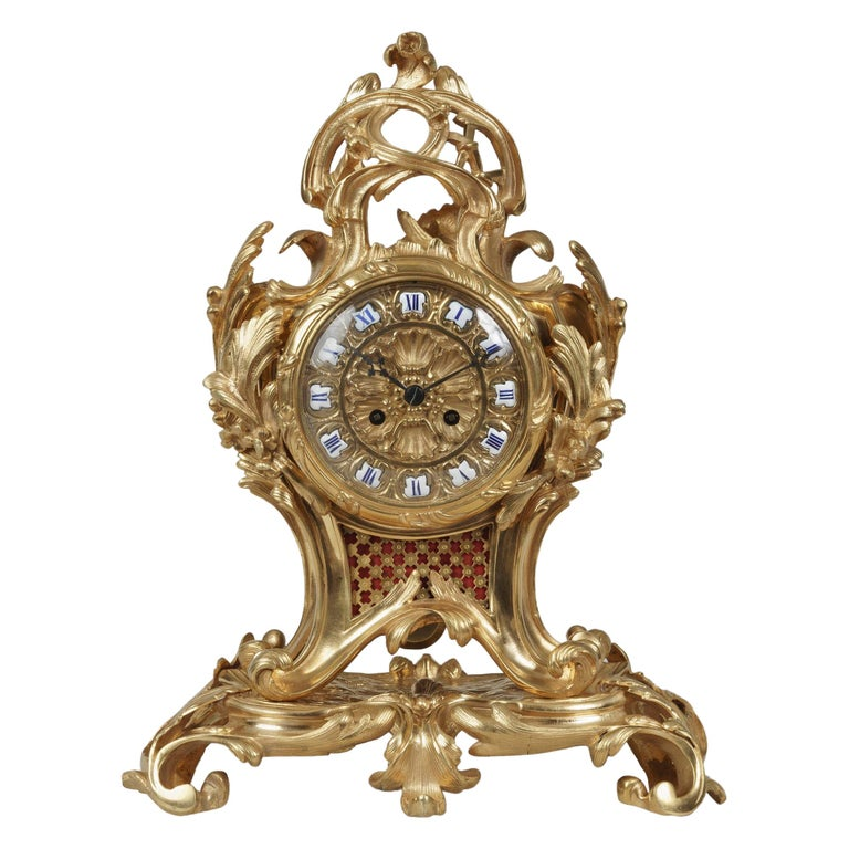 19th Century French Ormolu Mantle Clock in the Louis XV Style For Sale