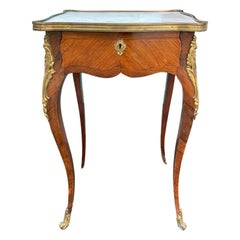 19th Century French Ormolu Mounted Marble Top Side Table, 1 Drawer