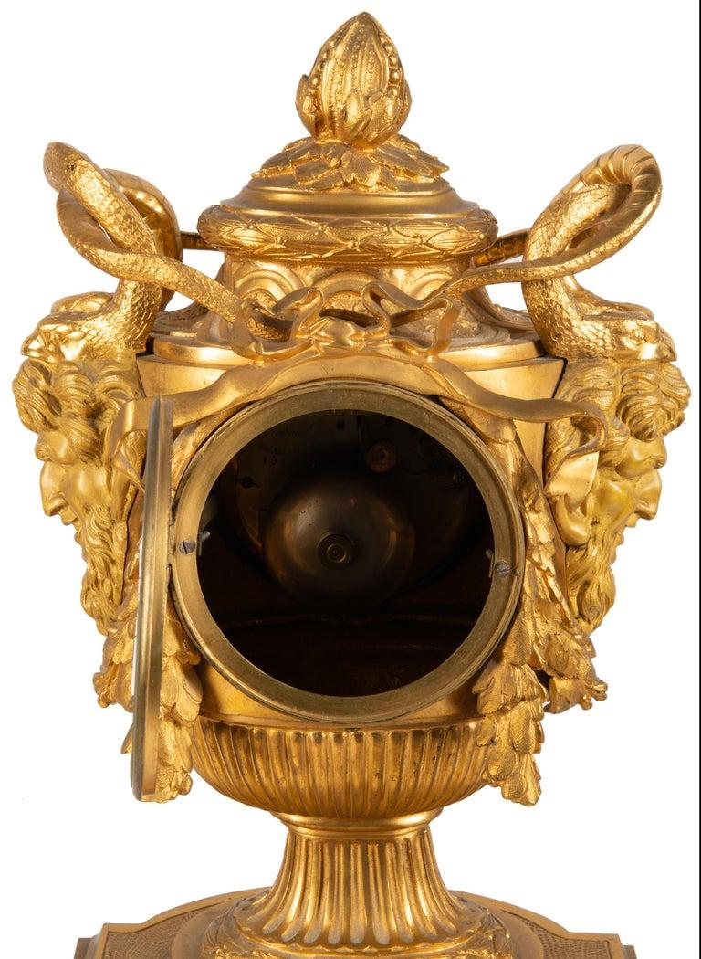 19th Century French Ormolu Urn Shape Mantel Clock For Sale 9