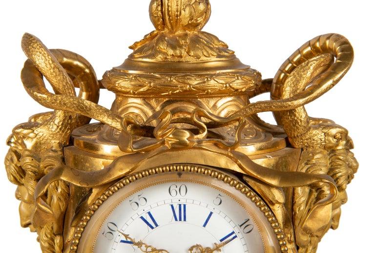 Louis XVI 19th Century French Ormolu Urn Shape Mantel Clock For Sale