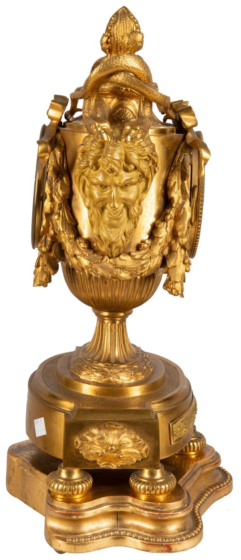Gilt 19th Century French Ormolu Urn Shape Mantel Clock For Sale