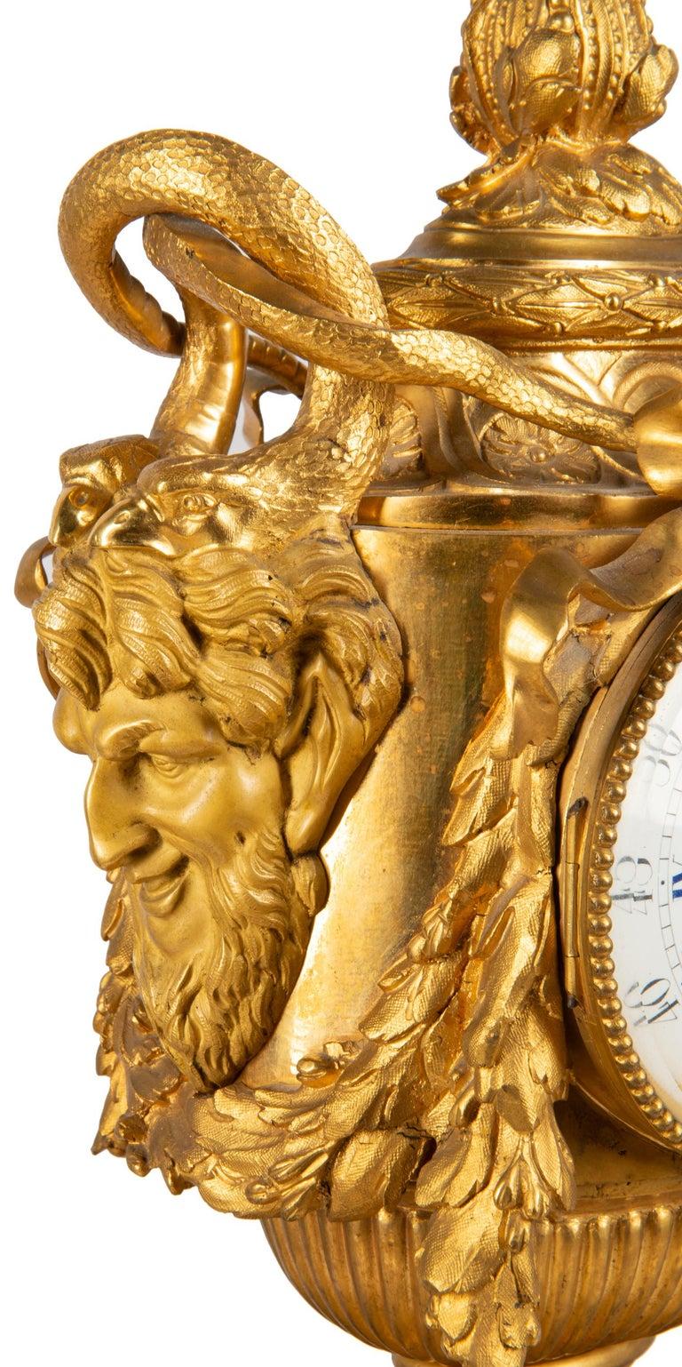 19th Century French Ormolu Urn Shape Mantel Clock For Sale 2