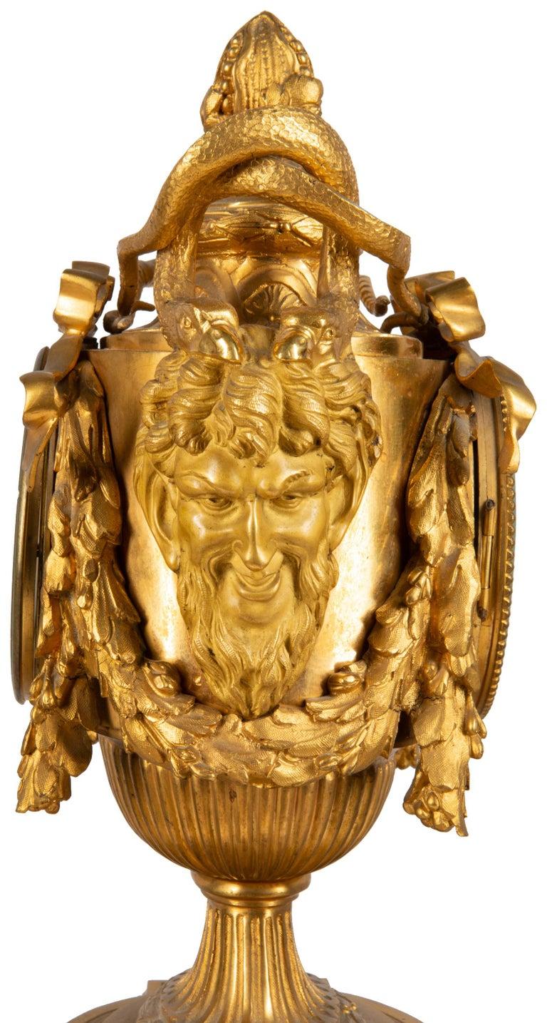 19th Century French Ormolu Urn Shape Mantel Clock For Sale 3