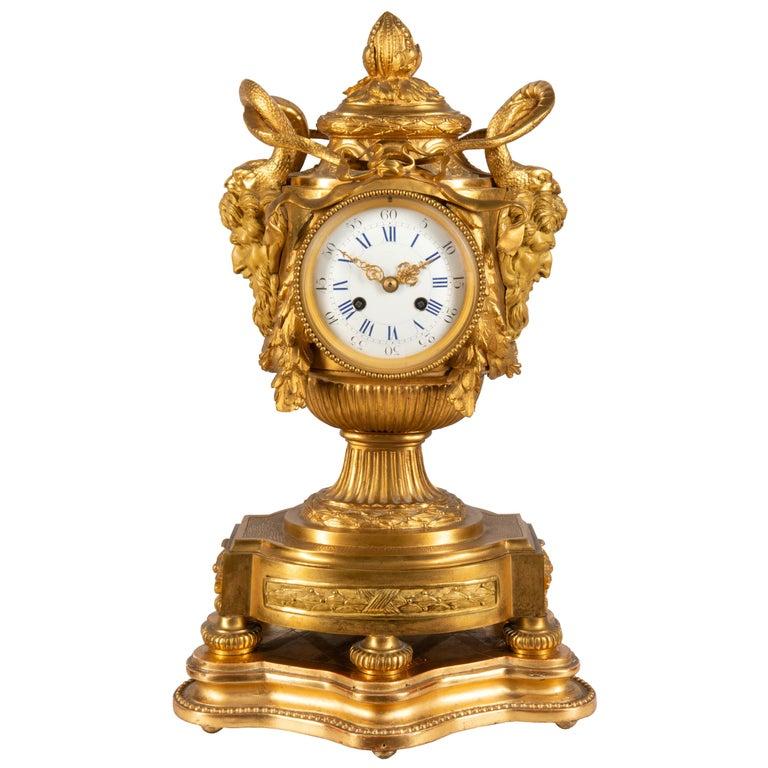 19th Century French Ormolu Urn Shape Mantel Clock For Sale