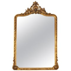 19th Century French Ornate Gold Gilt Mirror with Center Cartouche