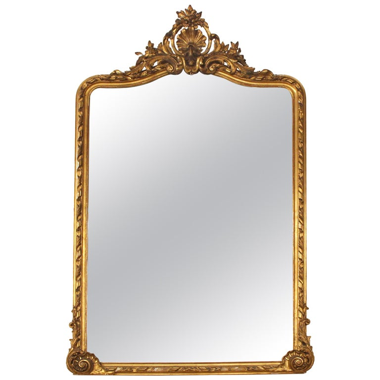 19th Century French Ornate Gold Gilt Mirror with Center Cartouche For Sale
