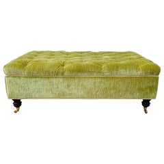 19th Century French Ottoman with Green Scalamandré Velvet