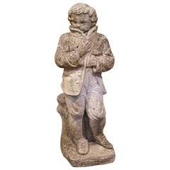 19th Century French Outdoor Carved Weathered Stone Young Man Statue