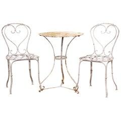 19th Century French Outdoor Painted Iron Pedestal Table and Two Matching Chairs