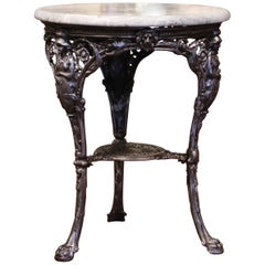 19th Century French Outdoor Polished Iron Gueridon Table with Marble Top