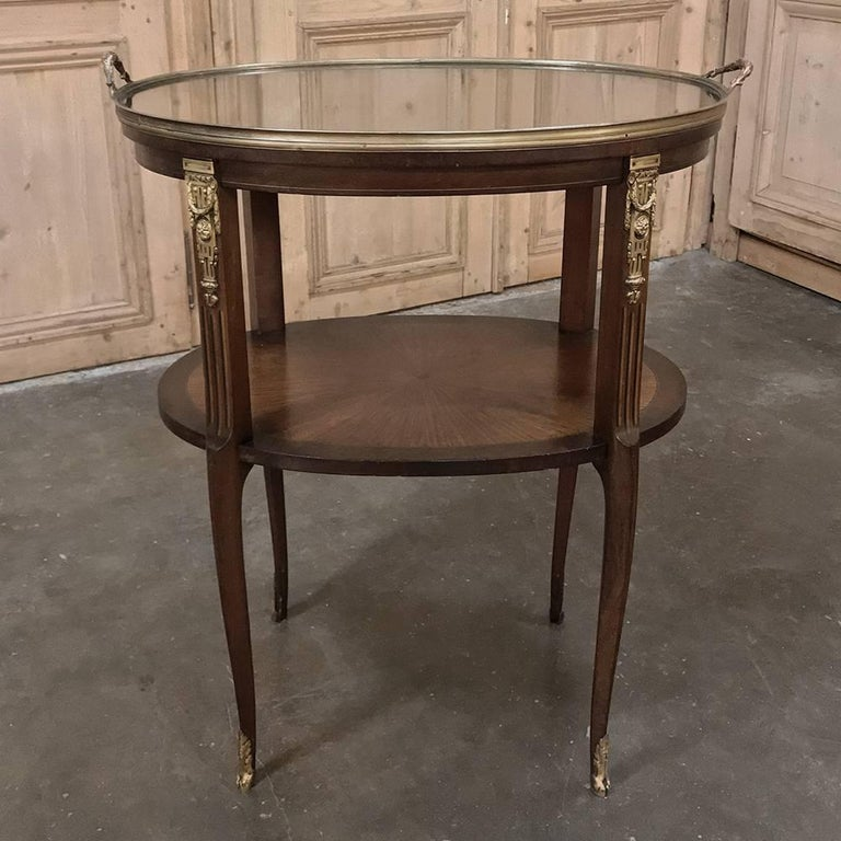 Louis XVI 19th Century French Oval Marquetry and Ormolu Occasional Table with Glass Tray For Sale