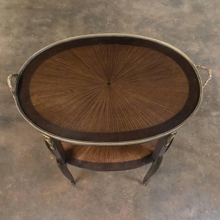 Late 19th Century 19th Century French Oval Marquetry and Ormolu Occasional Table with Glass Tray For Sale